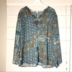 Apt 9 Flowy Lightweight Embroidered Blouse 1x